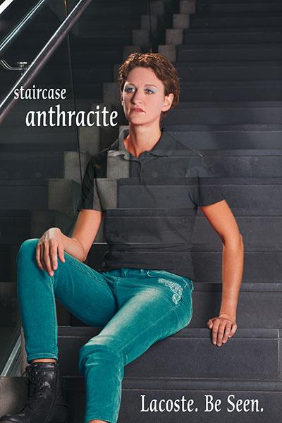 Interpretation einer Lacoste-Werbung. Gemacht während der Ausbildung. Model: Jana H&M: Jana